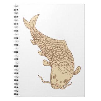 Koi Nishikigoi Carp Diving Down Drawing Notebook
