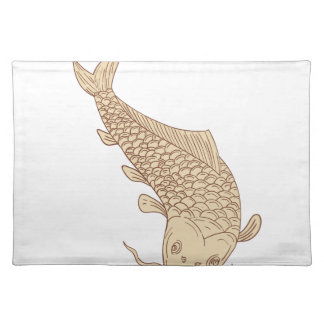 Koi Nishikigoi Carp Diving Down Drawing Placemat