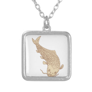 Koi Nishikigoi Carp Diving Down Drawing Silver Plated Necklace