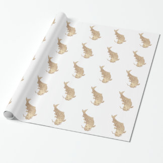 Koi Nishikigoi Carp Diving Down Drawing Wrapping Paper