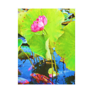 Koi Pink Lotus Flower Painting Wrapped Canvas
