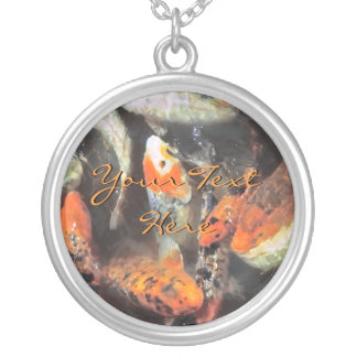 Koi Pond Artistic Photo Silver Plated Necklace
