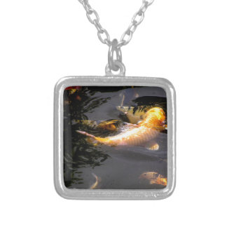 Koi pond in the garden silver plated necklace