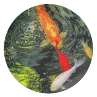 Koi Pond Melamine Plate