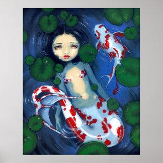 Koi Pond Mermaid fantasy Art Print