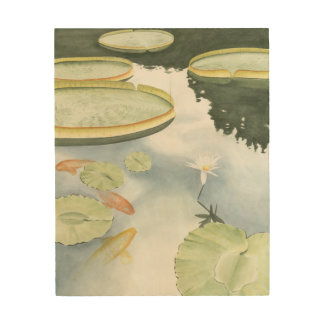Koi Pond Reflection with Fish and Lilies Wood Wall Decor
