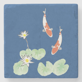 Koi Pond Stone Coaster
