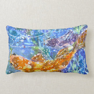 Koi Pond  watercolor throw pillow