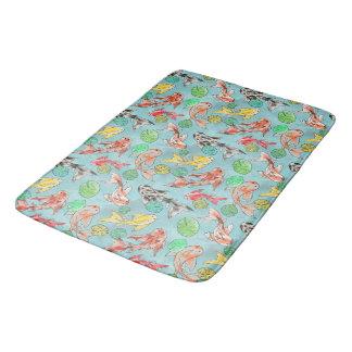 Koi pond watercolors bath mat