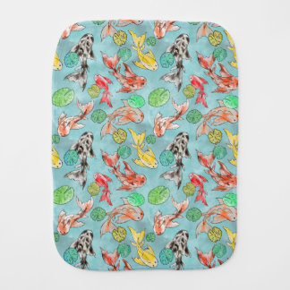 Koi pond watercolors burp cloth
