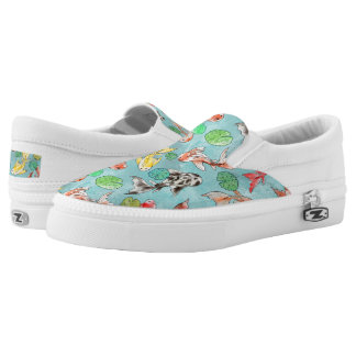Koi pond watercolors Slip-On shoes