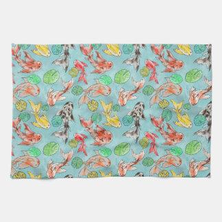 Koi pond watercolors tea towel