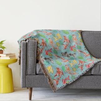 Koi pond watercolors throw blanket