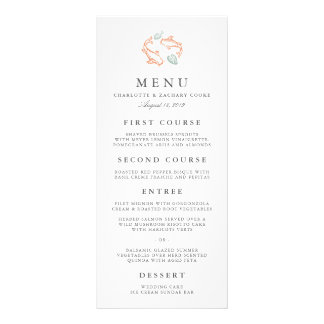Koi Pond Wedding Menu Card