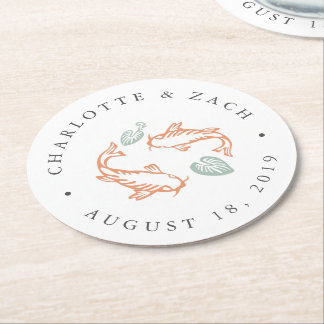 Koi Pond Wedding Round Paper Coaster