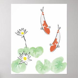 Koi Pond - White Background Poster