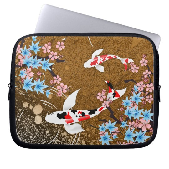 Koi Pond - wood - Japanese Design Laptop Sleeve