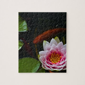 koi  swimming around lotus jigsaw puzzle