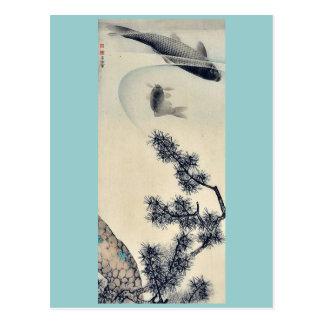 Koi under a pine branch by Maruyama, Okyo Ukiyoe Postcard