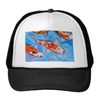 Koi watercolor nature painting art printed on cap