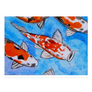 Koi watercolor nature painting art printed on postcards