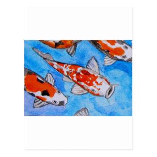 Koi watercolor nature painting art printed on postcard