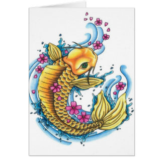 Koi with Cherry Blossoms Note Card