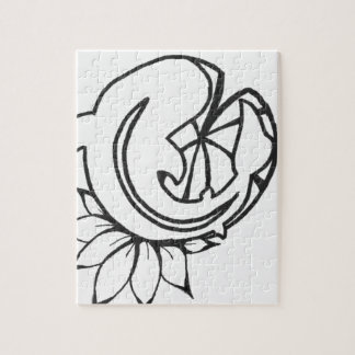 Koi with Lilly Pad Ink Drawing Jigsaw Puzzle