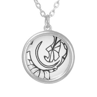 Koi with Lilly Pad Ink Drawing Silver Plated Necklace