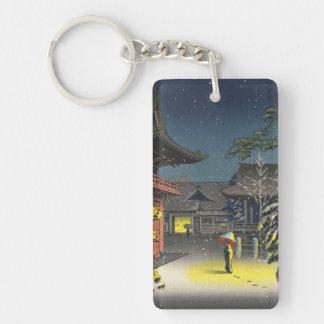 Koitsu Tsuchiya  Nezu Shrine Sale shin hanga art Double-Sided Rectangular Acrylic Key Ring