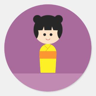 Kokeshi4 Classic Round Sticker
