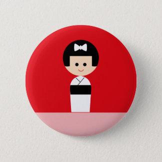Kokeshi 5 6 cm round badge