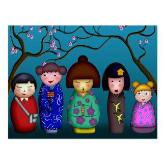 Kokeshi Blossoms, postcard