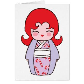 Kokeshi Candycane Xmas Card