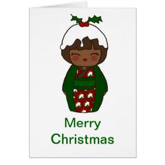 Kokeshi Christmas Pudding Card