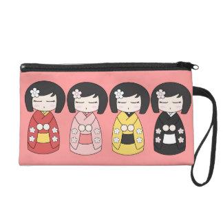 Kokeshi Collection Wristlet Bag