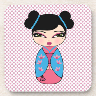 Kokeshi Doll 2 coasters with cork back - set of 6