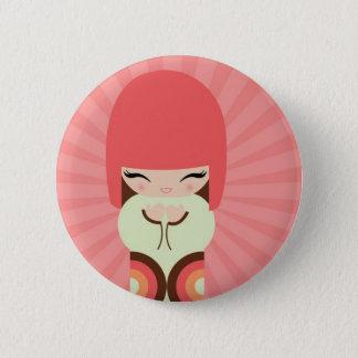 kokeshi doll 6 cm round badge