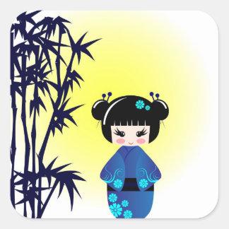 Kokeshi doll and bamboo square sticker