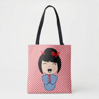 Kokeshi Doll Blue  All-Over-Print Tote Bag