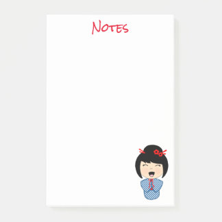 Kokeshi Doll Blue Post-it® Notes 4 x 6