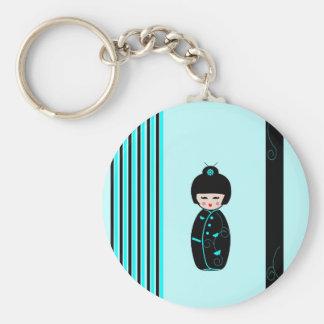 Kokeshi doll keychain, gift idea basic round button key ring