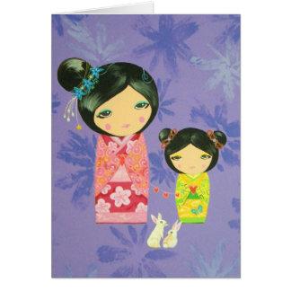 Kokeshi Doll - Love Binds us Together Card
