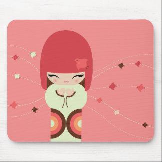 kokeshi doll mouse pad