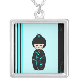 Kokeshi doll necklace, gift idea square pendant necklace