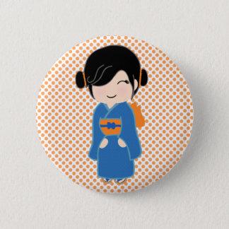 Kokeshi Doll Orange Standard, 2¼ Inch Round Button