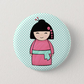 Kokeshi Doll Pink  Standard, 2¼ Inch Round Button