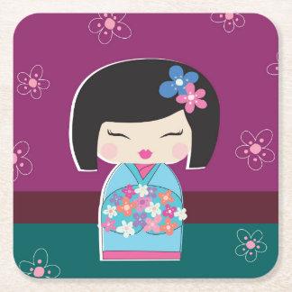 Kokeshi Doll, plum Square Paper Coaster