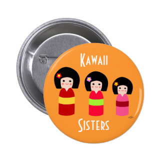 Kokeshi Doll Sisters Cartoon 6 Cm Round Badge