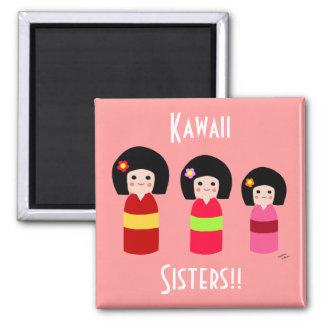 Kokeshi Doll Sisters Cartoon Magnet